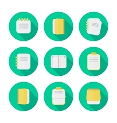 Notepad icon in a flat design with long shadow vector