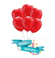 Happy birthday card template with balloons vector