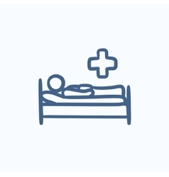 Patient lying on bed sketch icon vector