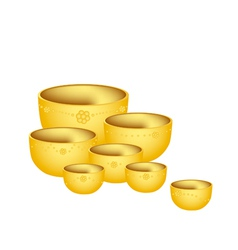 A set of golden bowls on white background vector