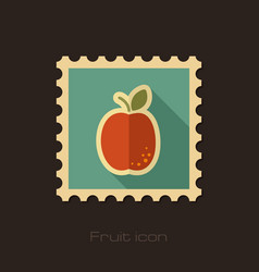 apricot flat stamp fruit vector image vector image
