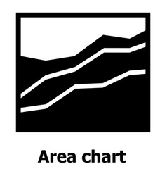 Area chart icon simple style vector