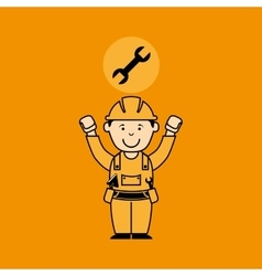Avatar man construction worker with wrench tool vector