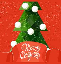 beautiful inscription and christmas tree vector image vector image