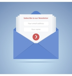 Blue envelope with subscription form in flat style vector image vector image