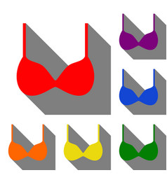 bra simple sign set of red orange yellow green vector image vector image