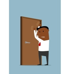 Businessman knocking at the closed door vector