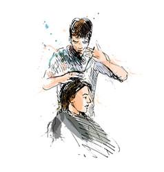 Colored hand sketch hairdresser vector