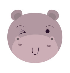 Colorful caricature cute face of hippo wink eye vector