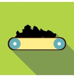 Conveyor belt carrying coal icon flat style vector