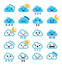 Cute cloud - kawaii manga icons with different vector