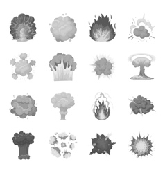 Explosions set icons in monochrome style big vector