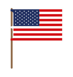 Flag united states of america in flagpole and vector