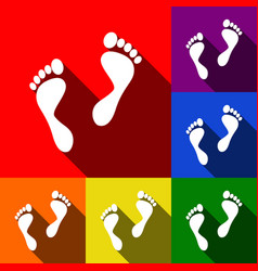 Foot prints sign set of icons with flat vector