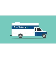 Free delivery truck shipping transport ecommerce vector