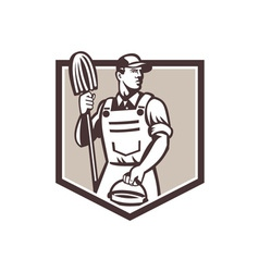 Janitor cleaner holding mop bucket shield retro vector