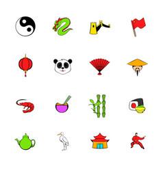 Japan set icons set cartoon vector