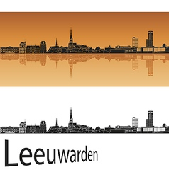 Leeuwarden skyline in orange background vector image
