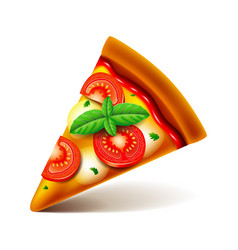 Margarita pizza slice isolated on white vector