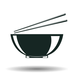 Monochrome japanese bowl sign vector