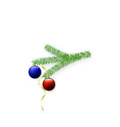 new year tree branch with balls and serpentine vector image vector image