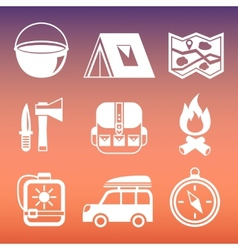 Outdoors camping pictograms collection vector