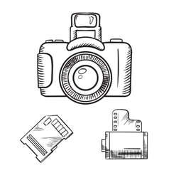 Photo camera memory card and film roll sketches vector