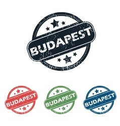 Round budapest city stamp set vector