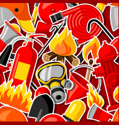 Seamless pattern with firefighting stickers fire vector