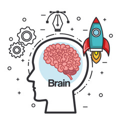 Silhouette head brain rocket think idea power vector