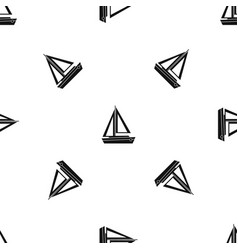 small boat pattern seamless black vector image vector image