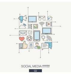 Social media integrated thin line symbols Modern vector image