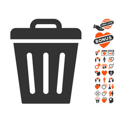 trash can icon with love bonus vector image vector image