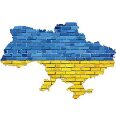 Ukraine map on a brick wall vector image vector image