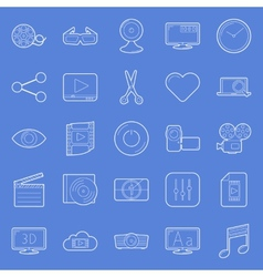 Video thin lines icons set vector image vector image
