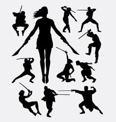 Warrior with weapon silhouette vector image vector image