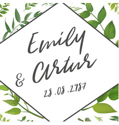 Wedding invite invitation save the date floral vector