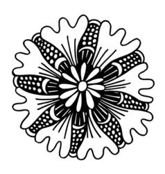 Circle summer doodle flower ornament vector image