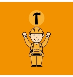 Avatar man construction worker with hammer tool vector