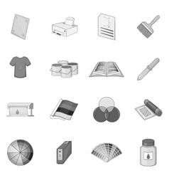 Print process icons set monochrome style vector image