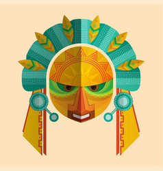 Image of a mask of the mayans with ethnic ornament vector