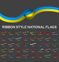 Ribbon style national flags 40 in 1 isolated on vector