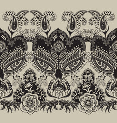 Border seamless pattern indian floral vector