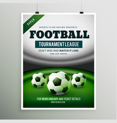 Football tournament league game flyer design vector