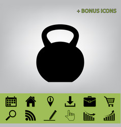 fitness dumbbell sign  black icon at gray vector image