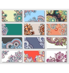 collection of colorful floral ornamental business vector image