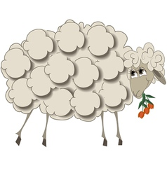 A sheep with flowers vector