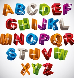 3D font funny colorful alphabet vector image