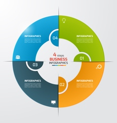 4 steps pie chart circle infographic template vector image