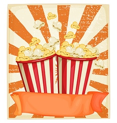 Popcorn in cups with banner vector image